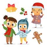 Комплект характеров детей и символов рождества Стоковое Изображение
