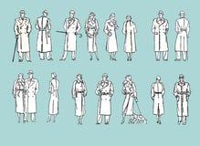 Комплект характеров ретро иллюстрация штока