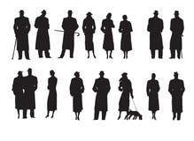 Комплект характеров силуэтов ретро Стоковая Фотография