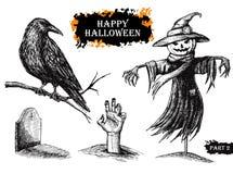 Комплект хеллоуина вектора нарисованный рукой сбор винограда милой иллюстрации птиц установленный иллюстрация вектора