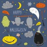 Комплект хеллоуина вектора нарисованный рукой Стоковая Фотография