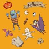 Комплект хеллоуина милый иллюстрация штока