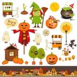 Комплект хеллоуина объектов фокуса или обслуживания иллюстрация вектора