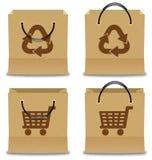 Комплект хозяйственной сумки бумаги Брайна Стоковое Фото