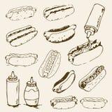 Комплект хот-дога нарисованный рукой Стоковое Изображение