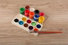 Комплект художника картин акварели и гуаши Стоковая Фотография RF