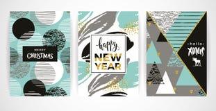 Комплект художнических творческих карточек с Рождеством Христовым и Нового Года иллюстрация вектора