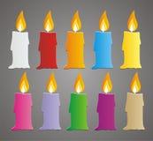 Комплект цветастого вектора свечи Стоковое Изображение