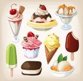 Комплект цветастого мороженого. иллюстрация вектора