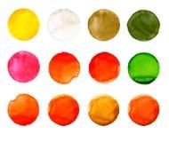 Комплект цветастой руки акварели покрасил круг изолированный на белизне Иллюстрация для художнического дизайна Круглые пятна, шар Стоковое Фото