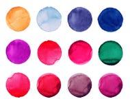 Комплект цветастой руки акварели покрасил круг изолированный на белизне Иллюстрация для художнического дизайна Круглые пятна, шар Стоковое Изображение RF