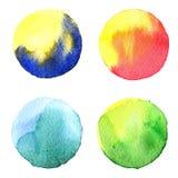 Комплект цветастой руки акварели покрасил круг изолированный на белизне Иллюстрация для художнического дизайна Круглые пятна, шар Стоковые Изображения