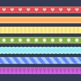 Комплект цветастых тесемок Стоковая Фотография