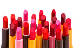 Комплект цвета губных помад красного на белой предпосылке Стоковое фото RF
