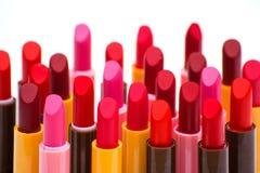 Комплект цвета губных помад красного на белой предпосылке Стоковые Фотографии RF