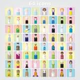 Комплект цвета значков людей 64 значка дети и иллюстрация adultsvector иллюстрация вектора