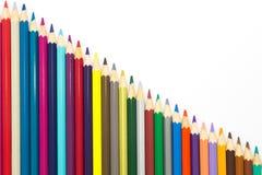 Комплект цвета искусства рисовал на белой предпосылке Стоковое фото RF
