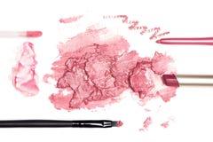 Комплект цвета косметик состава губы розового на белизне Стоковое Изображение