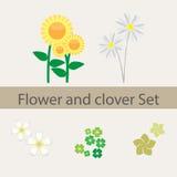 Комплект цветка и клевера Стоковые Изображения RF