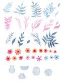 Комплект цветков акварели красных, листьев сини и пинка, и стеклянных ваз иллюстрация штока