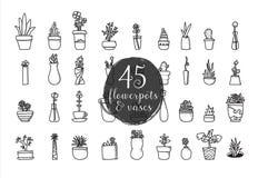 Комплект 45 цветочных горшков и ваз Нарисованный рукой дизайн вектора Стоковое Фото
