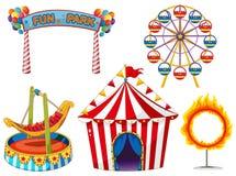 Комплект цирка с ездами и шатром Стоковая Фотография RF