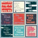 Комплект цитаты мотивационный Стоковое Изображение