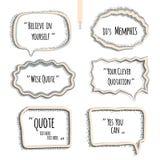 Комплект цитаты формирует шаблон, пузырь речи Стоковое Изображение RF