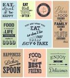 Комплект цитат винтажной еды типографских Стоковая Фотография RF