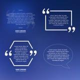 Комплект цитат на голубой предпосылке, пузыре речи Стоковое Изображение RF