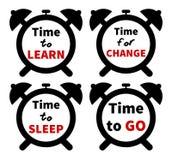 Комплект часов с текстом белизна изолированная предпосылкой Стоковые Фото