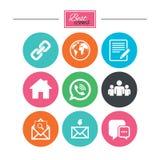 комплект части milo икон иконы связи Контакт, знаки почты Стоковое Изображение RF