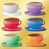 Комплект чашек в других цветах иллюстрация штока