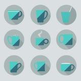 Комплект чашек Плоский стиль Стоковое Изображение RF