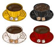 Комплект чашек с кофе также вектор иллюстрации притяжки corel Стоковые Изображения RF