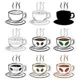 Комплект чашки чаю и кофе нарисованный рукой Стоковые Изображения