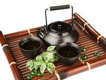 Комплект чая на бамбуковой циновке Стоковое Изображение RF