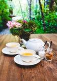 Комплект чая на древесине Стоковое Изображение