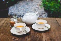 Комплект чая на древесине Стоковое Фото