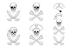 Комплект черепа пирата Шаблоны дизайна вектора бесплатная иллюстрация