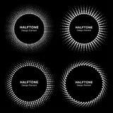 Комплект черного абстрактного логотипа рамки круга полутонового изображения иллюстрация вектора