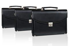 Комплект черного кожаного портфеля Стоковое Изображение RF
