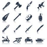 Комплект черноты значков оружия Стоковое фото RF