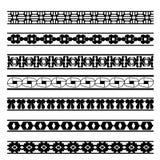Комплект черно-белых геометрических линий элемента Стоковое фото RF