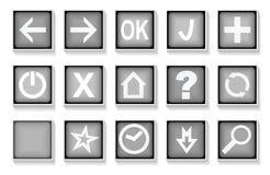 Комплект черно-белых кнопок сети Стоковая Фотография RF