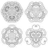Комплект 4 черно-белых мандал Стоковые Фото