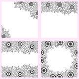 Комплект черно-белых предпосылок с цветками Стоковое фото RF
