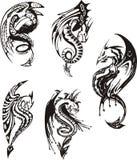 Комплект черно-белых драконов Стоковая Фотография RF