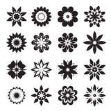 Комплект черных геометрических цветков также вектор иллюстрации притяжки corel Стоковое фото RF