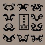 Комплект черных животных рожка формы Стоковое Изображение RF